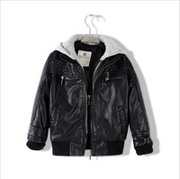 autumn / winter child casual plus velvet leather clothing child cardigan jacket turn-down collar PU outerwear