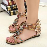 spring bohemia vintage gem beaded sandals flat gladiator style flat heels women's sandals size 34-41