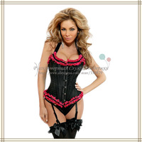 Ladies' Sexy Lace Up Steel Bustier G-String Corset Lingerie 2014 New Arrival SCW-13015 Free Shipping Russian Support
