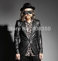 2014 Autumn Men's Fashion Crocodile PU Leather Suit, Cool One Button Slim Fit Cool Blazer Coat