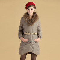 Viviyihua winter new arrival luxury super large raccoon fur medium-long slim down coat women