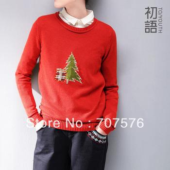 PRE-SALE!! 2013 Рождество Новые стили О-образным вырезом елка лоскутное свитер женская одежда