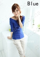 2013 New Girl Corsage Boat Neck 3/4 Sleeve Slim Strech T-Shirt Casual Tops Blouse Casual E0666