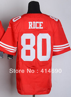 Free Shipping Wholesale&Retail Men's Elite American Football Jersey #80 Jerry Rice Jersey,Embroidery Logos,Can Mix Order