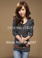 2013 free shipping puff sleeves long sleeves women t -shirt slim women t shirt  cotton t-shirts big discount