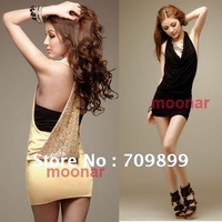 Apricot Black Sexy Women Halt Top Clubwear Backless Sleeveless Palta Party Mini Dress CE0383