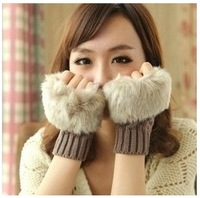 Short Yarn Knit Mittens Women's Outdoor Luvas Winter Wool Thermal Fingerless Gloves For Women As Christmas Gift