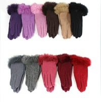 Women's Short Yarn Knit Luvas Fashion Winter Warm Wool Thermal Fur Gloves For Women (YP0107005)