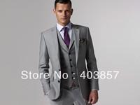 Design Men Suit Custom Made Suit  Slim Fit Men Suit Dress Light Grey Suit 3 Pieces Men Suit Elegant Suit MS0242