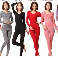Thermal long johns women seamless beauty  cotton  body shaping underwear set