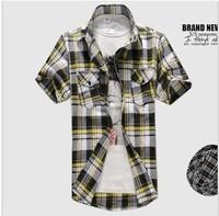 new 2013 men fashion Classic plaid cotton short-sleeved t-shirt casual shirts men's clothing M--XXL