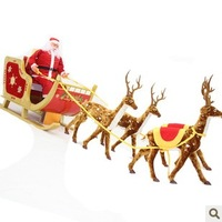 Extra large Christmas decoration wool christmas deer car sled christmas decoration supplies