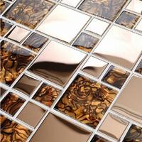 Rose gold metal glass tile kitchen backsplash countertops bath wall mirror bar shower amber tiles mosaic brown doco mesh tiles