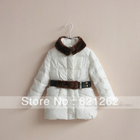 2013 new autumn and winter children clothing girls jacket outerwear Belt Fur collar down jacket 3-8T high quality warm long