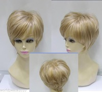new Fashion blonde mixed short straight cospaly wig + wig cap
