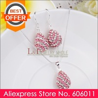 Min 10 piece/lot Water Drop Crystal Shamballa Jewelry Sets Pink+Necklace+Drop Earrings S063, Free Shipping