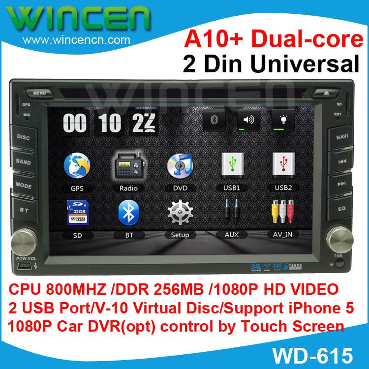 """2014!!! 6,2""""Il 1080p auto lettore dvd gps per 2 din universale con a10+ dual core iPhone 5 supporto 10 EQ v-10 disco auto dvr(opt)"""
