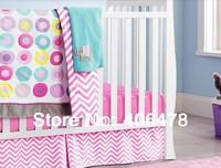 8pcs Cotton Baby Crib Sets Princess Pink Circles best gift for baby girls bedding set