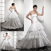 Factory Direct Sell Low Price Free Shipping Ruffle Skirt Wedding Dress Satin     ---  AA100
