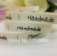 """Free shipping 10 yards """"Handmade"""" in 5 fonts printed double face satin ribbon NB 3/8'' 9mm hairbow accessories gift package DIY"""