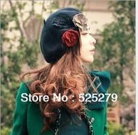 Free shipping fashion flower Wool Lady Beret Hat Winter Warm Hat women cap