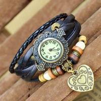 (Minimum order $ 10) 2014 new 78 Retro women leather braided dress watch wristwatches jewelry wholesale multicolor