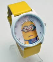 free & drop shipping 10pcs wholesale new hot sales Despicable me 3D cartoon kids gift Leather watch with boxes boys girls watch