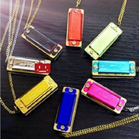 New Mini Harmonica 4 Hole 8 Tone Necklace