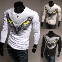 New Hot Big Discount Eagle Print Long-sleeve Round Neck Men T-shirt Slim t-shirt  for men,free shipping,R1376