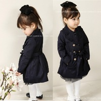 autumn winter baby girl's fashion children outerwear coat kids jackets & coats trench coat lace double breasted jacket