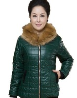 Free Shipping! New Arrival .2013 Women Autumn and Winter wadded Fashion Slim Cotton-padded Fur Collar Plus Velvet Coat