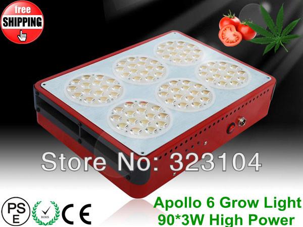 Hydroponic Plant Grow Light LED Apollo 6 Grow Lights 90*3W High Power Grow with Fedex/DHL Freeship 4pcs/Lot(China (Mainland))