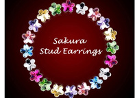 Fashion Women Flower Stud Earrings,Austrian Crystal Sakura Bijoux,SWA Element,925 Sterling Silver,Wholesale 2pairs 22%OFF,PE001