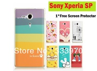 FreeShipping Colorful Comic Animation Printing Hard Back Cover Case For Sony Xperia SP M35H + Free Screen Protector Film