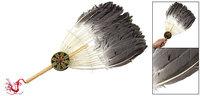Zhuge Liang Goose Fur Eight Diagrams Decor Wooden Handle Handy Fan