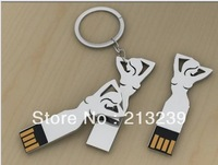 Wholesales New Metal Beauty Model usb 2.0 memory flash stick pen drive Key chain freeshipping+dropshipping