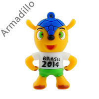 Hot sale,Armadillo world cup mascot Brazil  Usb Flash Drive / Usb Memory Stick / pen drive  2GB 4GB 8GB 16GB