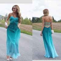 2014 New Arrival Sexy Prom Dresses Sweetheart Ankle Length Simple Custom Made Chiffon Backless Party Gowns