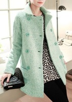 Dollarfish 2014 fashion turn-down collar double breasted wool outerwear wool coat female
