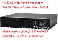 H.264 Hi3531 D1 Preview and Playback Audio Alarm Matrix Loop P2P Cloud HDMI RS485 RS232 8 SATA Smartphone 8ch DVR,DVR Recorder