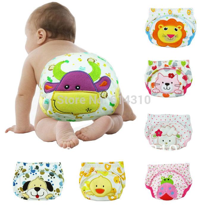 Free shiping 5pcs/lot waterproof Baby Training Pant underwear cotton learning/study infant urinate pants(China (Mainland))