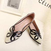 Bow decoration flat velvet pointed toe single shoes flat heel women's shoes flats shoes 179