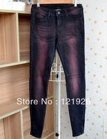 Womens Fashion Wine Red Washed Skinny Slim Fitting Stretch Jeans Pants Denim Trousers W26~33 L32