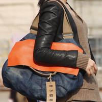 free shipping 2014 denim bag women's handbag denim+cowhide casual shoulder messenger bag fashion classic designer bag for women