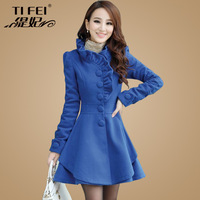 Thickening woolen outerwear female winter 2013 ruffle hem slim design wool long wool coat
