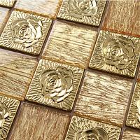 Gold foil kitchen backsplash tile glass stainless steel bathroom wall mirror tub pattern mosaics tiles backsplash deco mesh tile