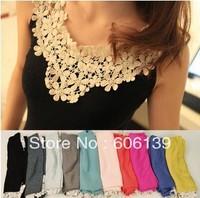 women Top Quality 100  Cotton lace Tank Top  5pcs/lot free shipping G2387
