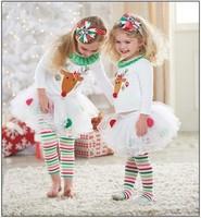 2014 Clothing sets girl elk pattern christmas set t shirt +skirt pants kids new year baby clothing baby wear