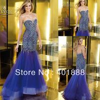 Sweetheart Mermaid Organza Heavy Beaded Sweetheart Backless Tulle Evening Dress Wholesale