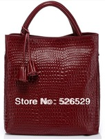 Free Shipping hot vintage crocodile genuine leather women's handbag shoulder bag ladies bag sweet tassel female big tote bags